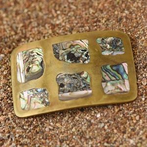 Accessories - Vintage Abalone and Brass belt buckle